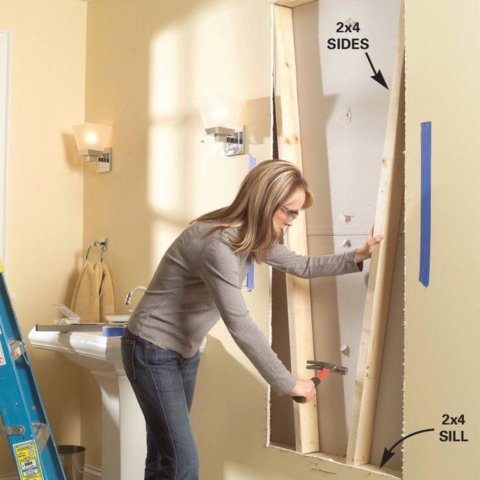 built-in bath cabinet
