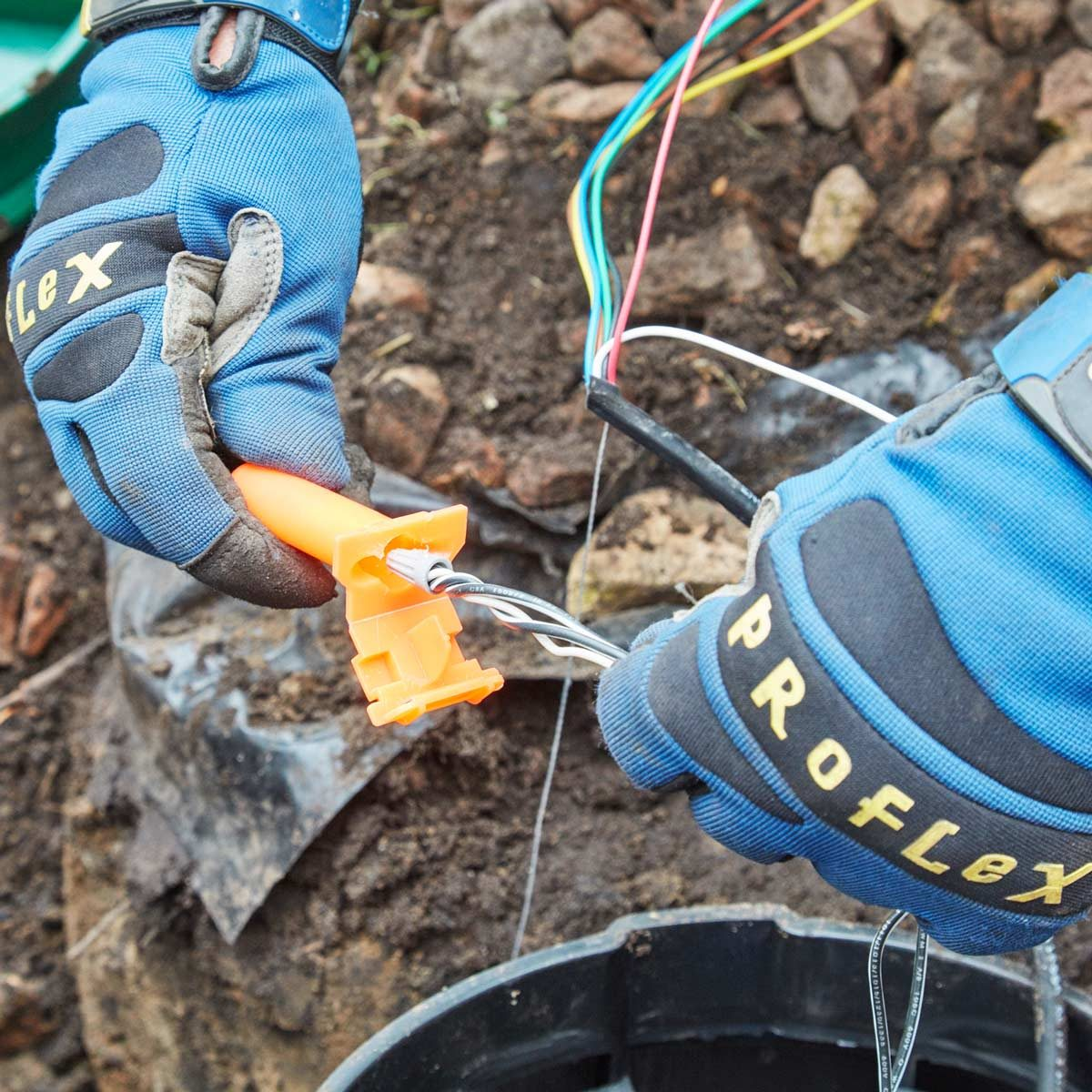 protect wires with connectors irrigation system