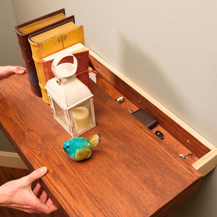 floating shelf with secret drawer