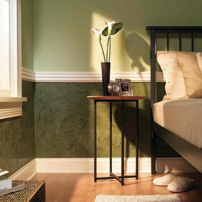 venetian wall plaster and chair rail molding bedroom