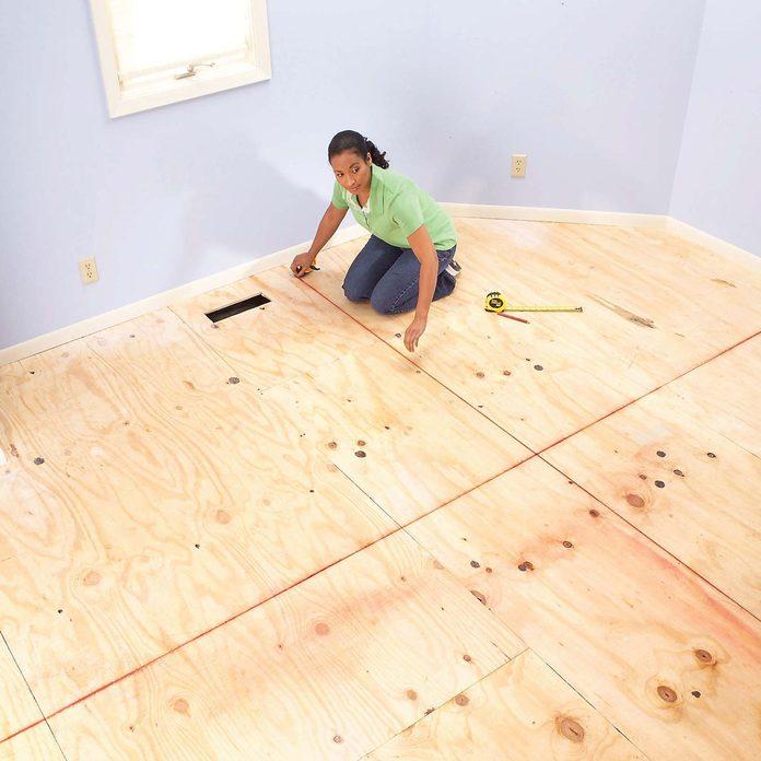 unfinished floor prep for carpet sqaures