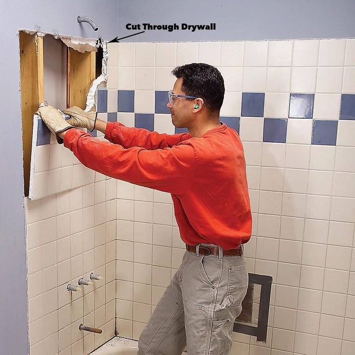 remove drywall shower upgrade