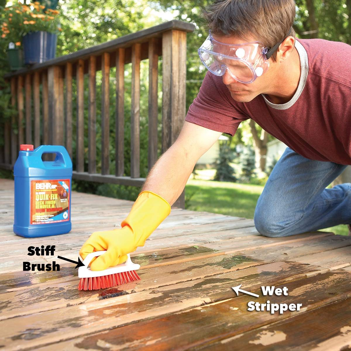 remove flaking deck stain