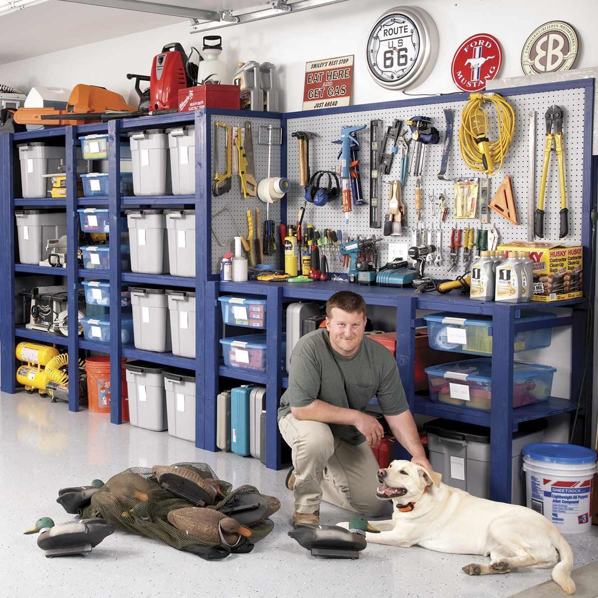 blue garage storage shelves
