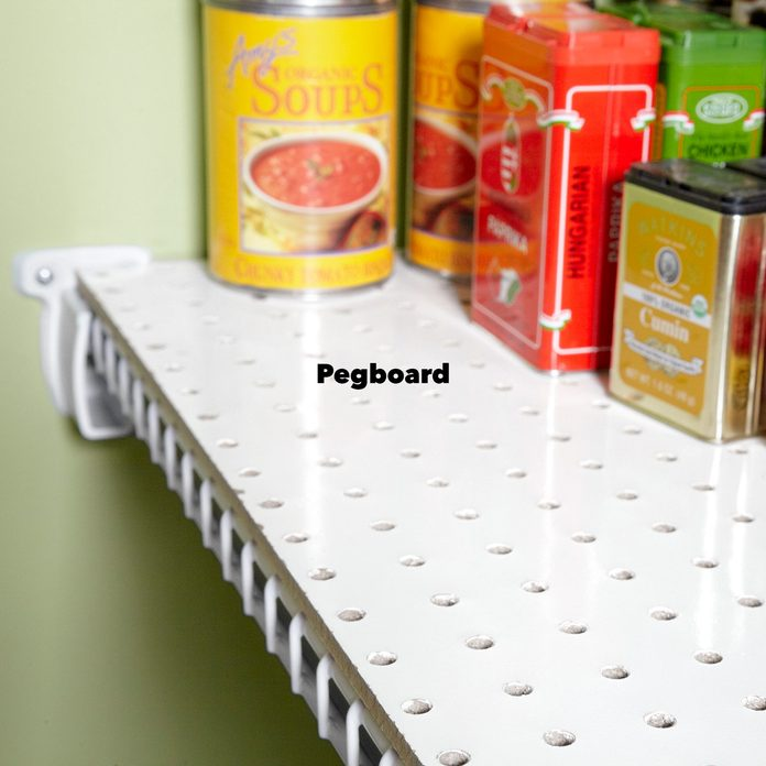 Pegboard wire shelves pantry