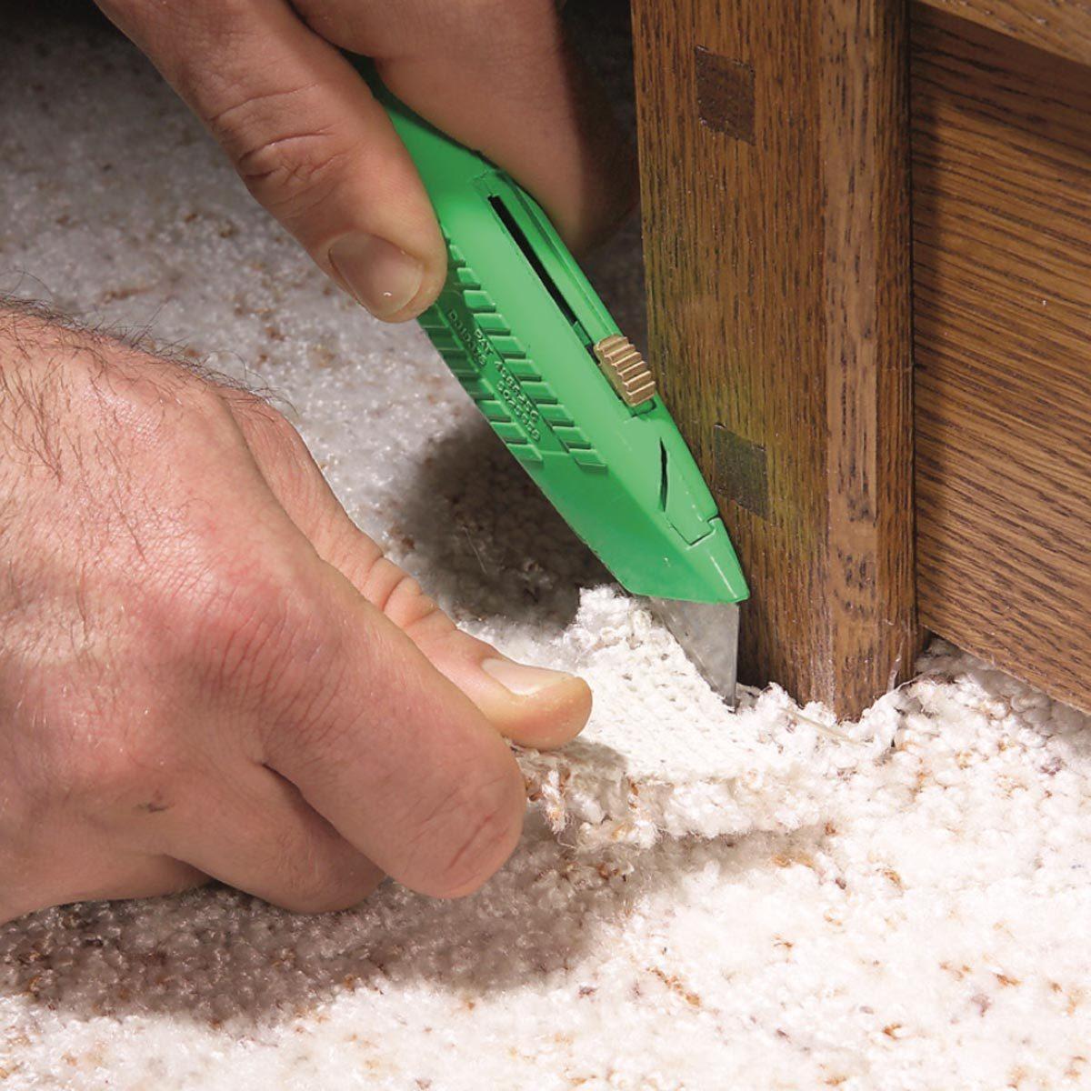 cutting carpet