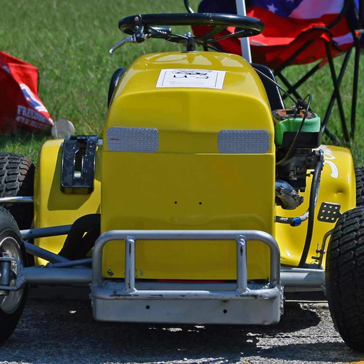 yellow hot rod lawn mower