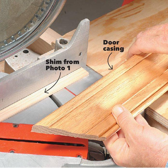 tilt trim with a shim miter door trim