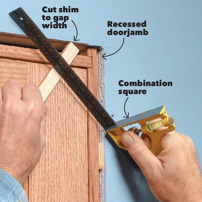 custom cut a shim door trim