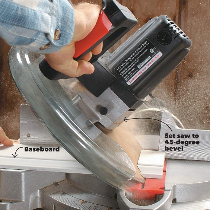 miter cut 45 degree bevel baseboard