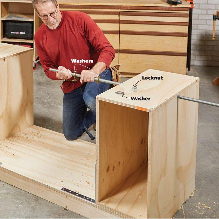 insert the threaded rod flip-top bench