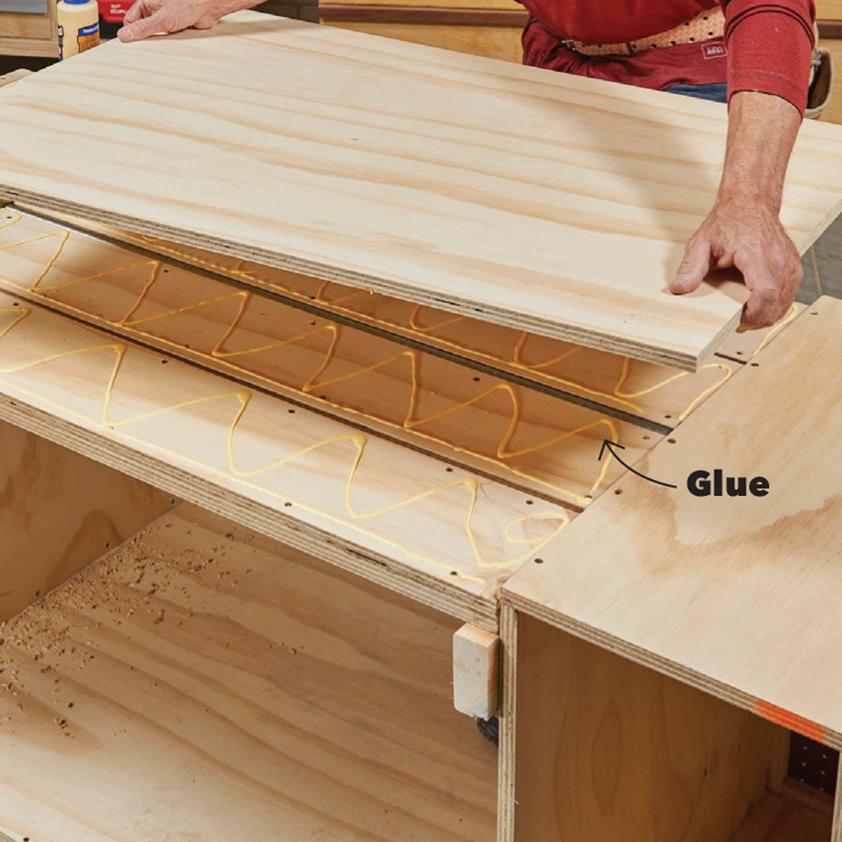 secure third layer of flip-top bench