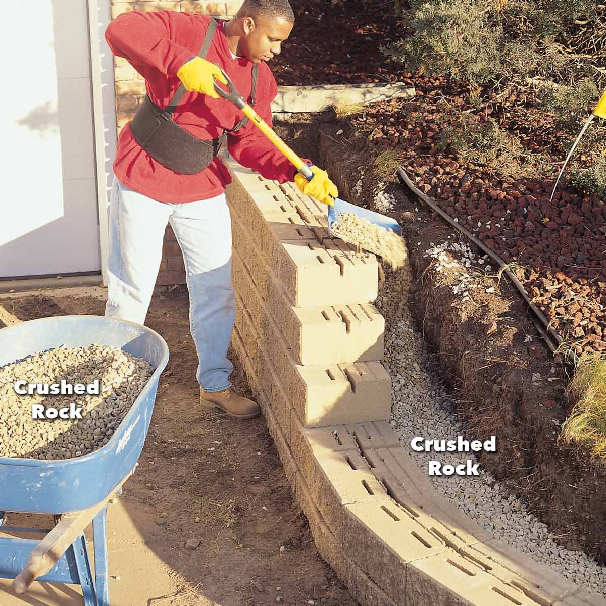 backfill with gravel retaining wall