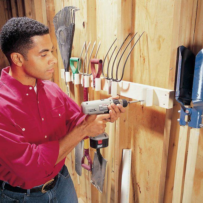 pvc garden tool storage holder rack