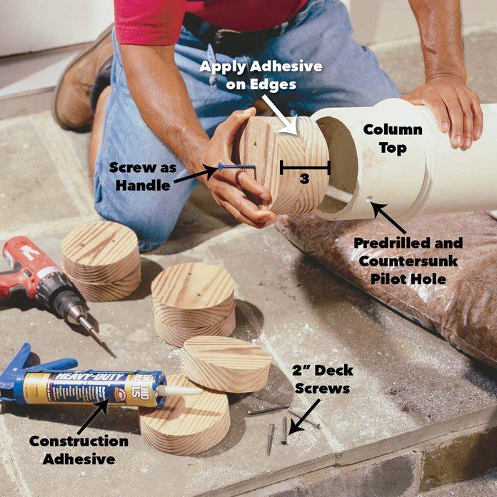 wood plugs in columns pergola