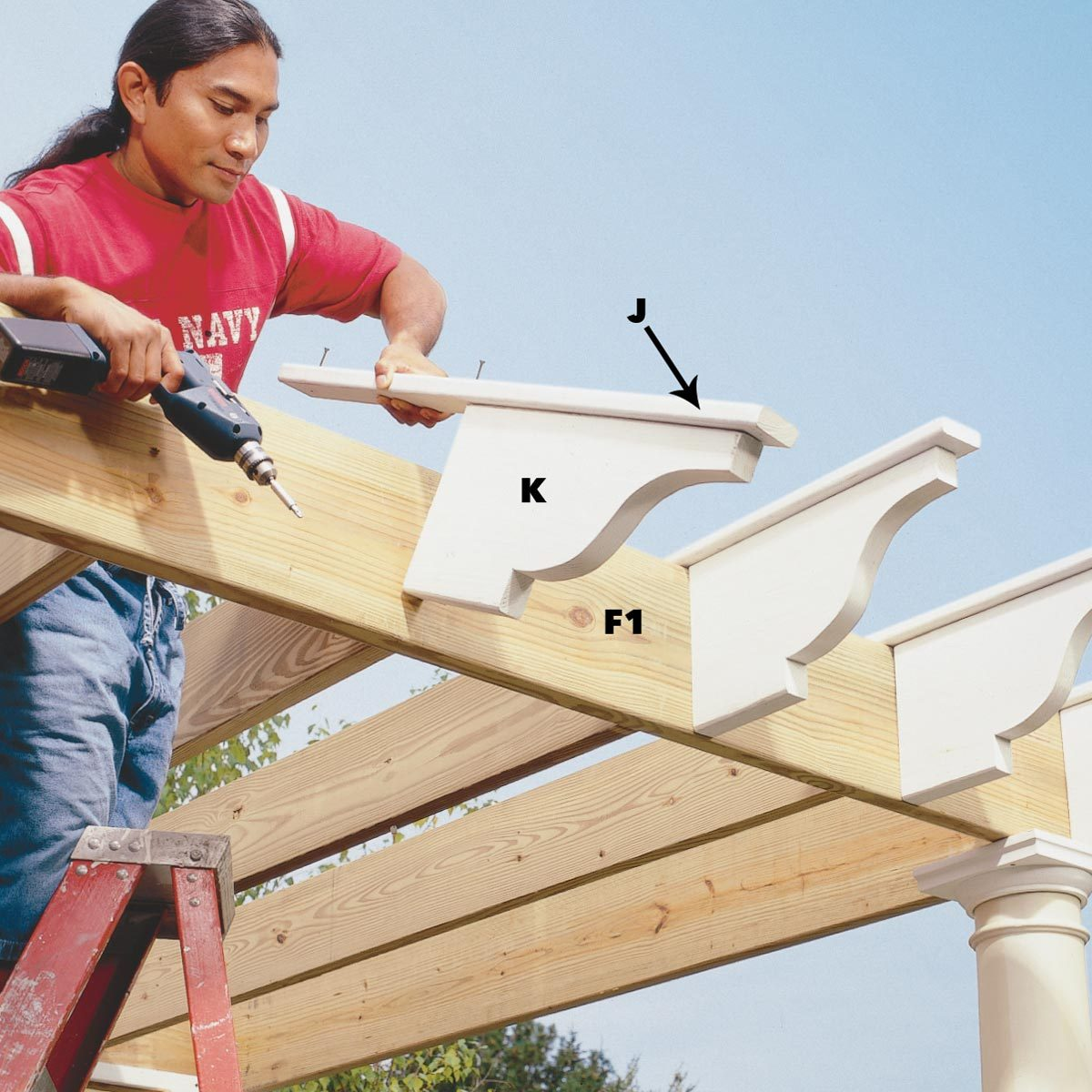 attach the rafter tails pergola