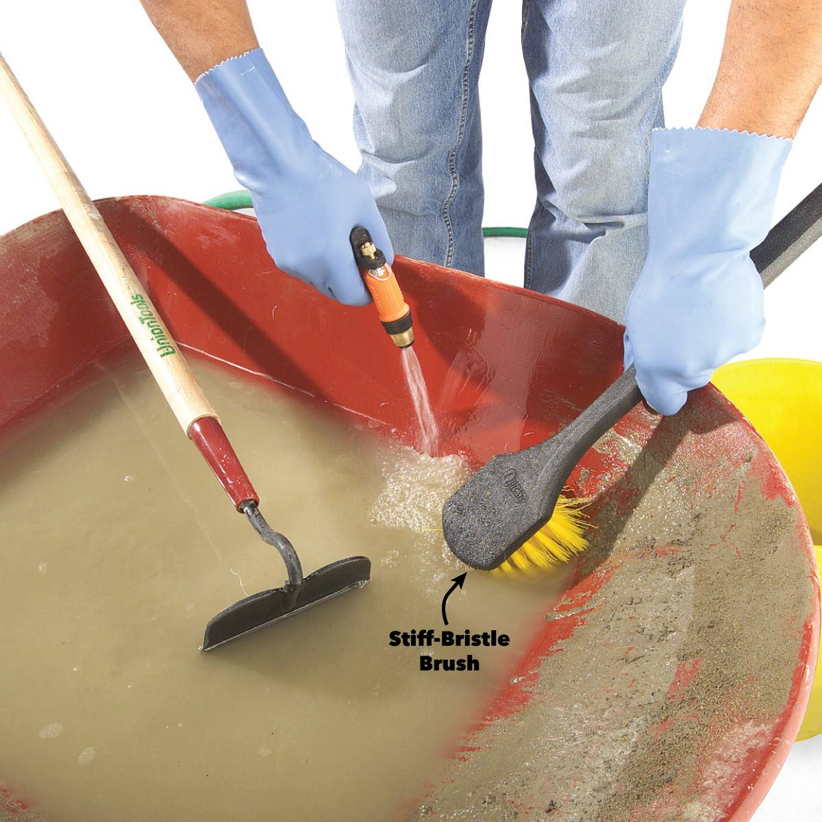 clean up concrete mixing tools