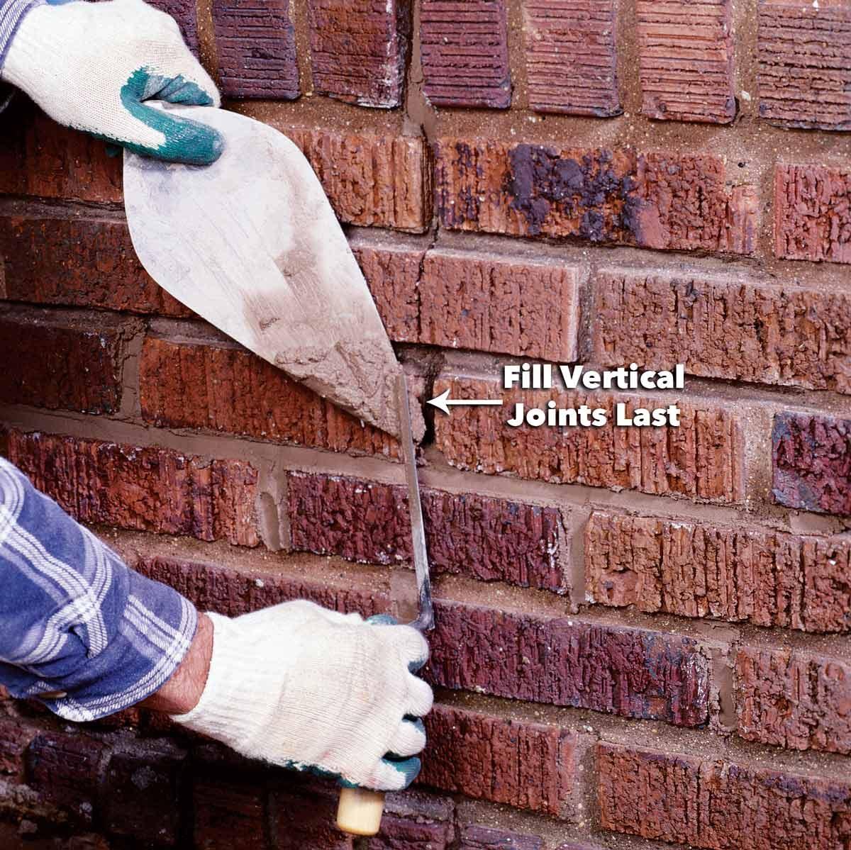 fill vertical mortar joints last