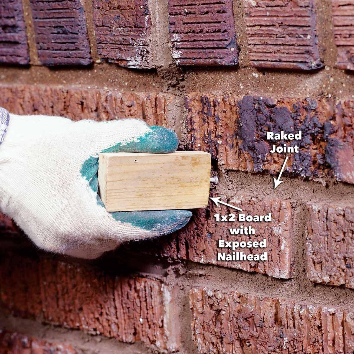 rake the mortar joints