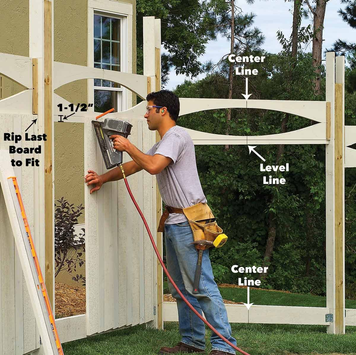add top rails and paneling to fence