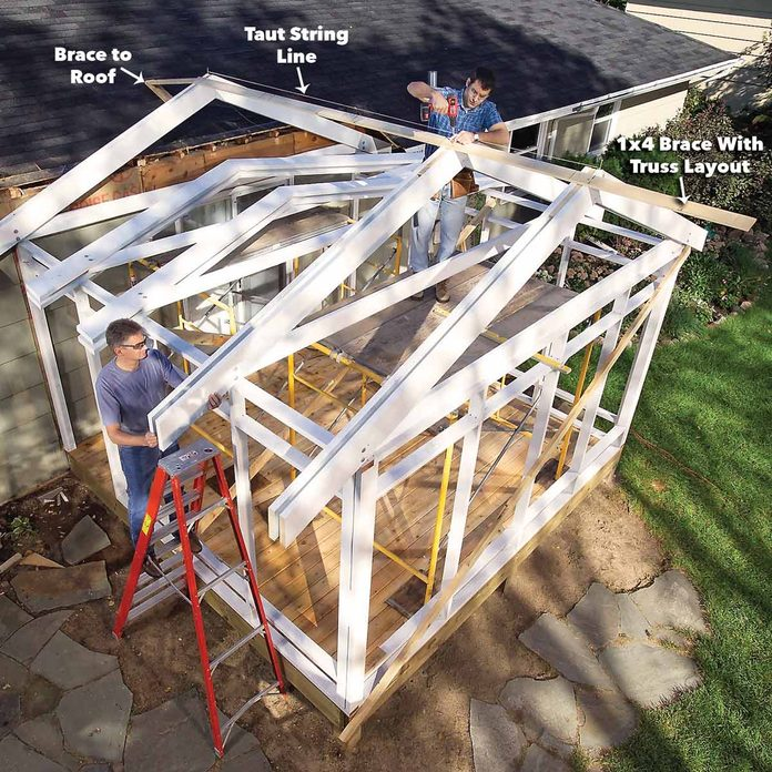 attach the trusses porch