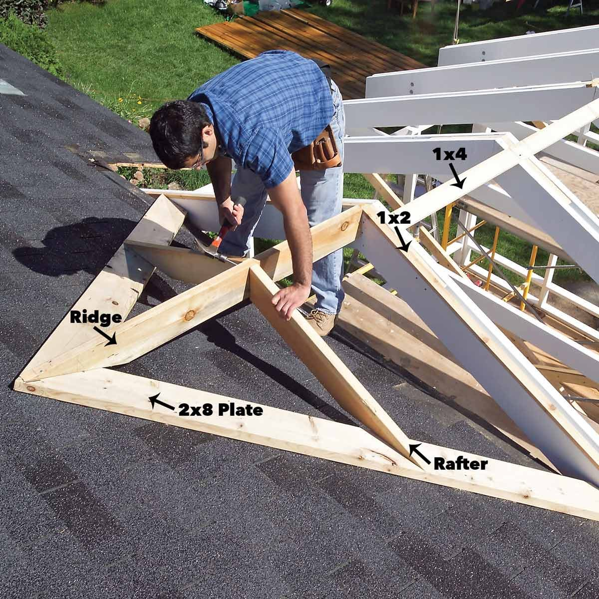 install ridge and rafters
