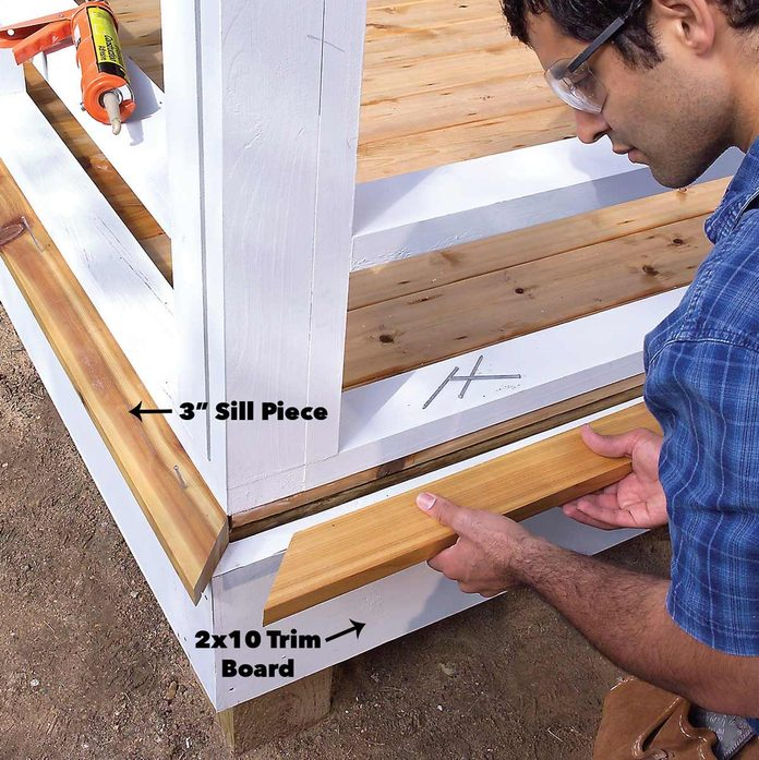 Attach trim and sill to the outer porch walls