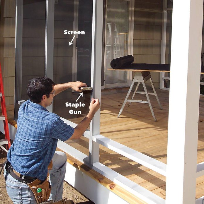 Staple the screen to the porch walls