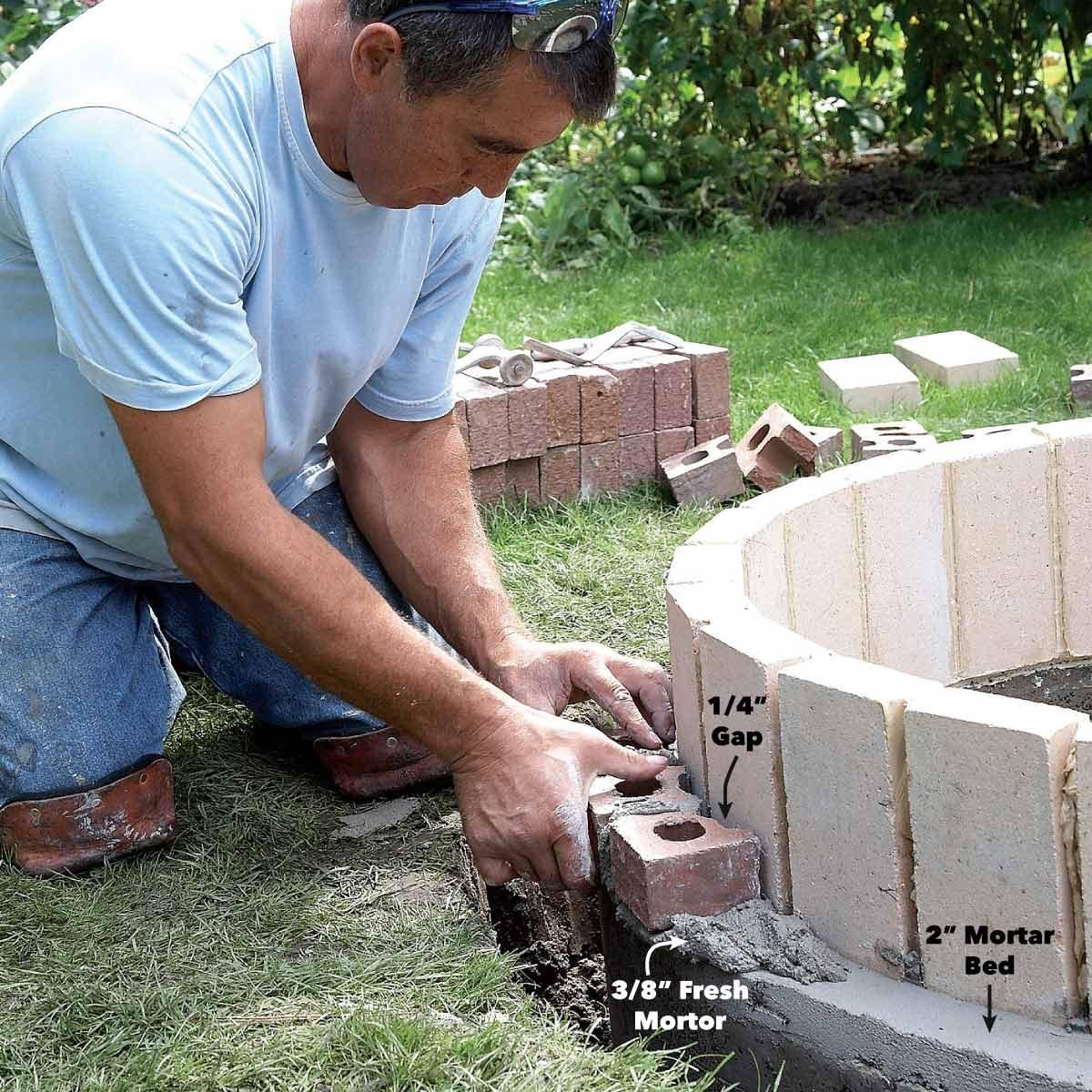 set face brick fire pit