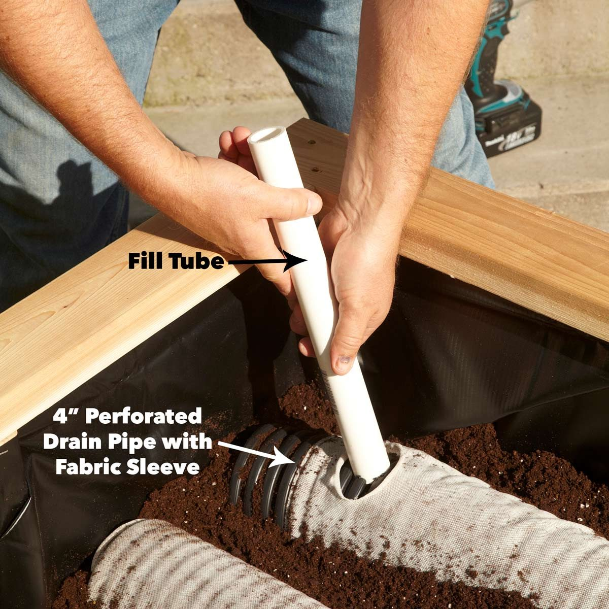 drain pipe and fill tube