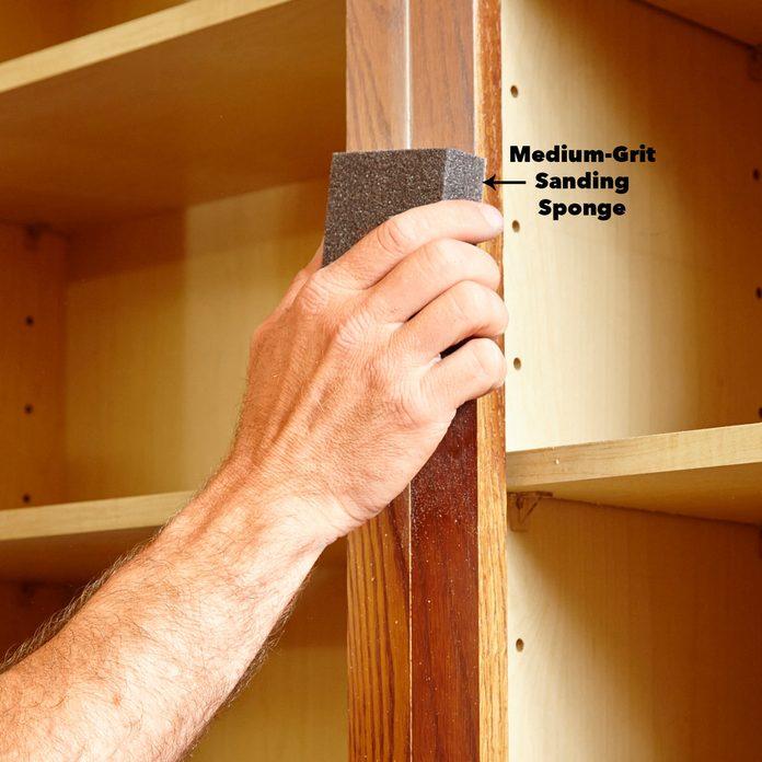 preparing cabinets: medium-grit sanding sponge