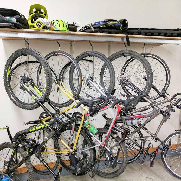 door track bike rack garage storage