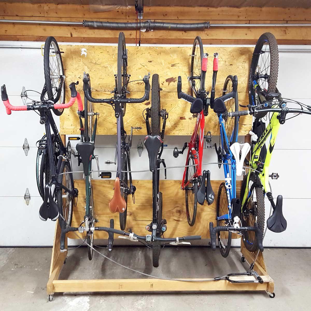 rolling garage bike storage