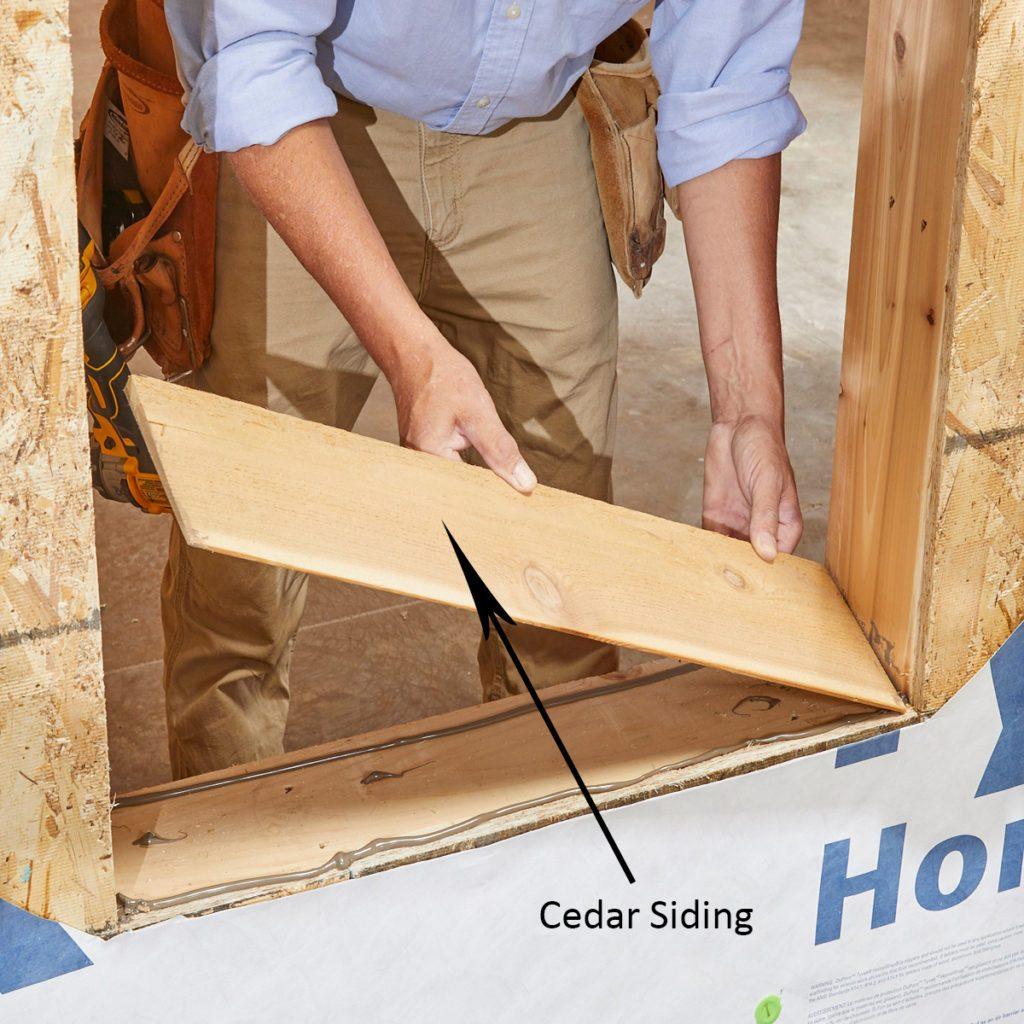 Placing cedar siding in the window sill   Construction Pro Tips