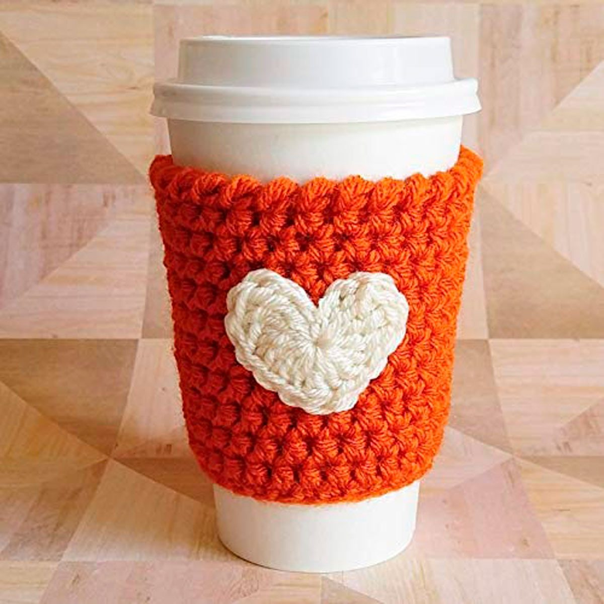 knitted pumpkin spice coffee sleeve coozie