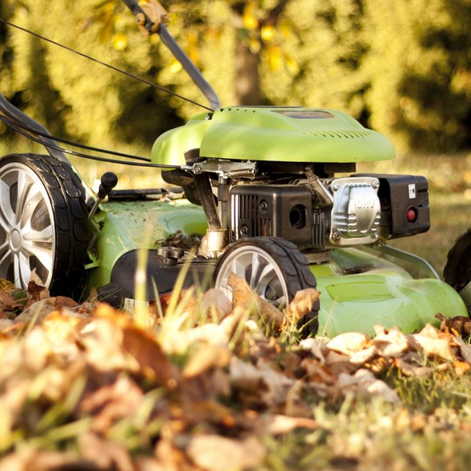 mowing fall leaves