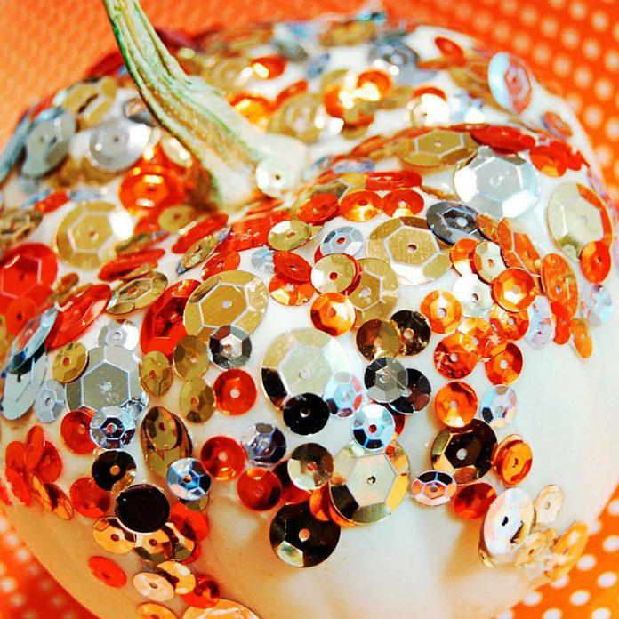 bedazzled glitter pumpkin gourd