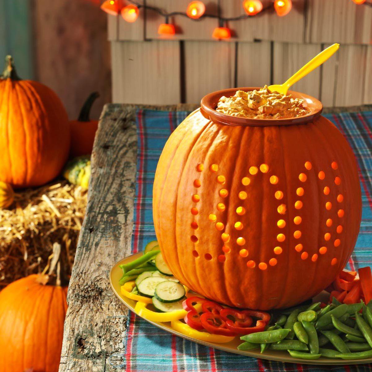 halloween pumpkin vegetable tray boo