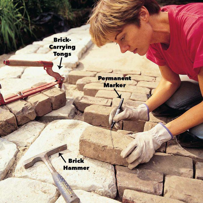 mark brick cutting line stone patio