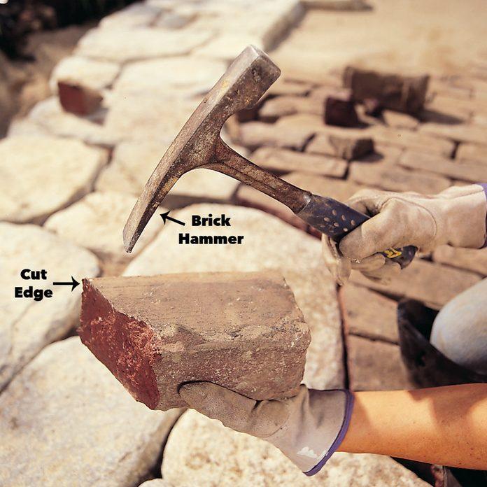 chips brick edges patio