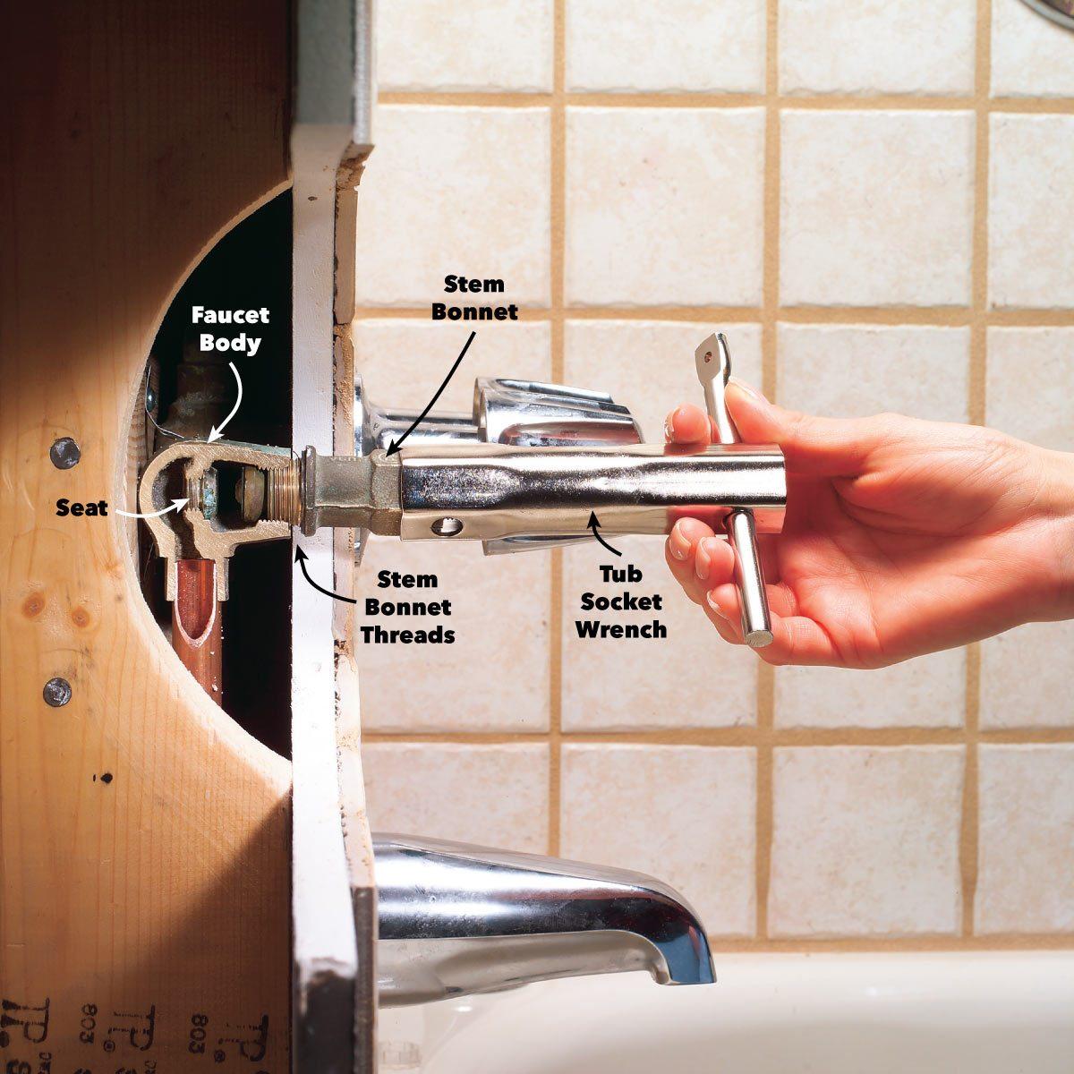 remove the stem bathtub faucet