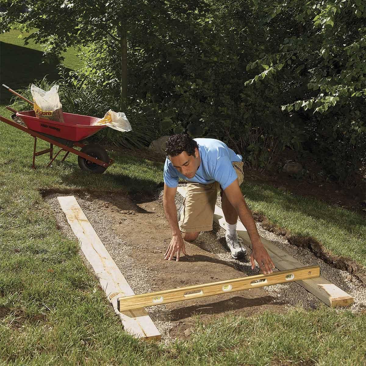 outdoor storage locker - laying the foundation