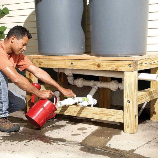 install valves garbage cans rain barrels