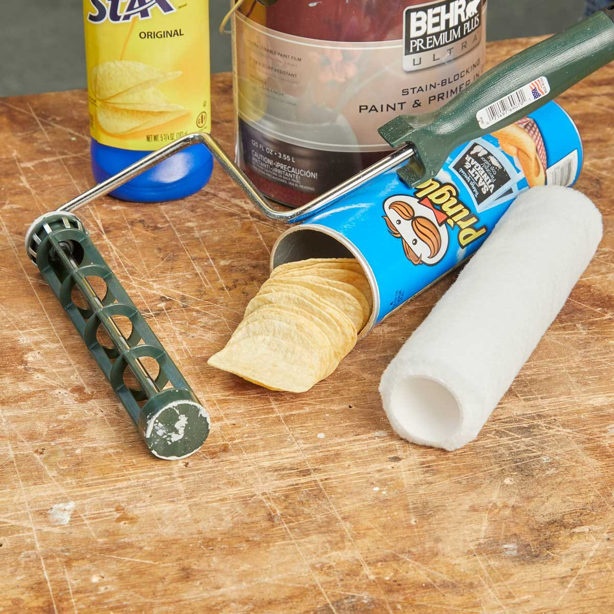 HH handy hints paint roller lays can of chips Pringles