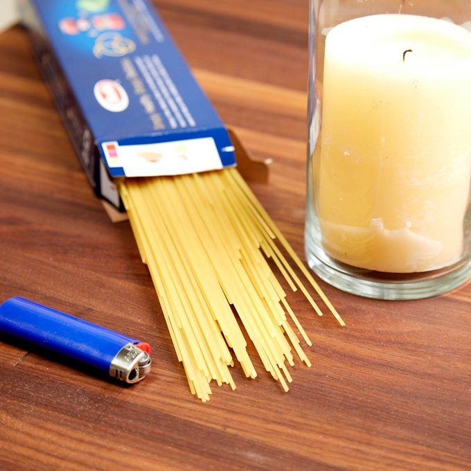 HH Handy hint spaghetti noodle pasta lighter candle