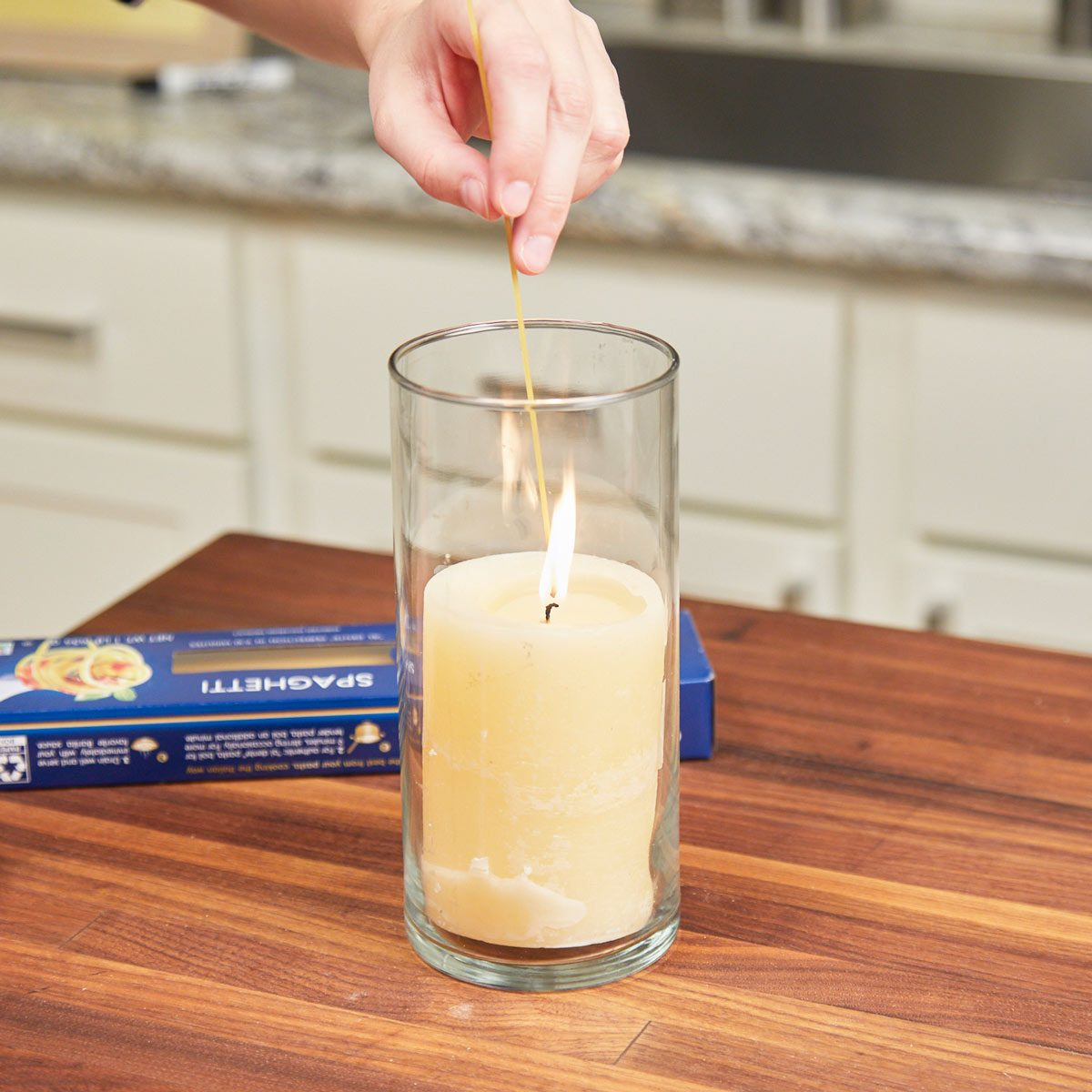 HH handy hints spaghetti noodle lighter candle