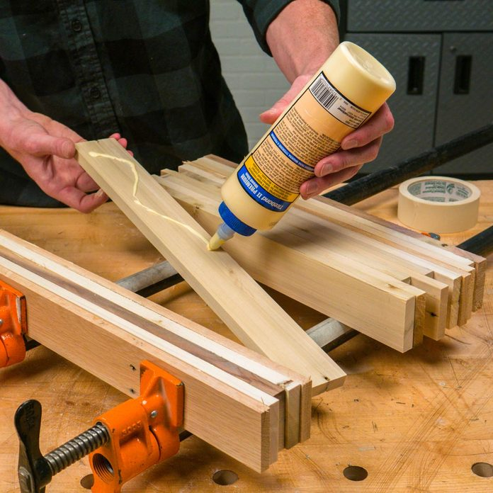 pallet side table glue up the top