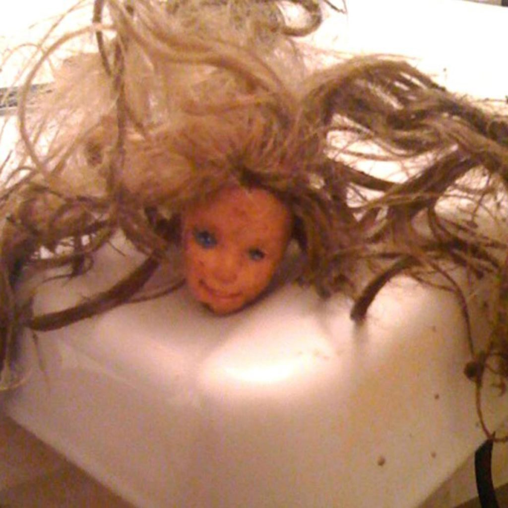 a freaky looky barbie head found in a toilet | Construction Pro Tips