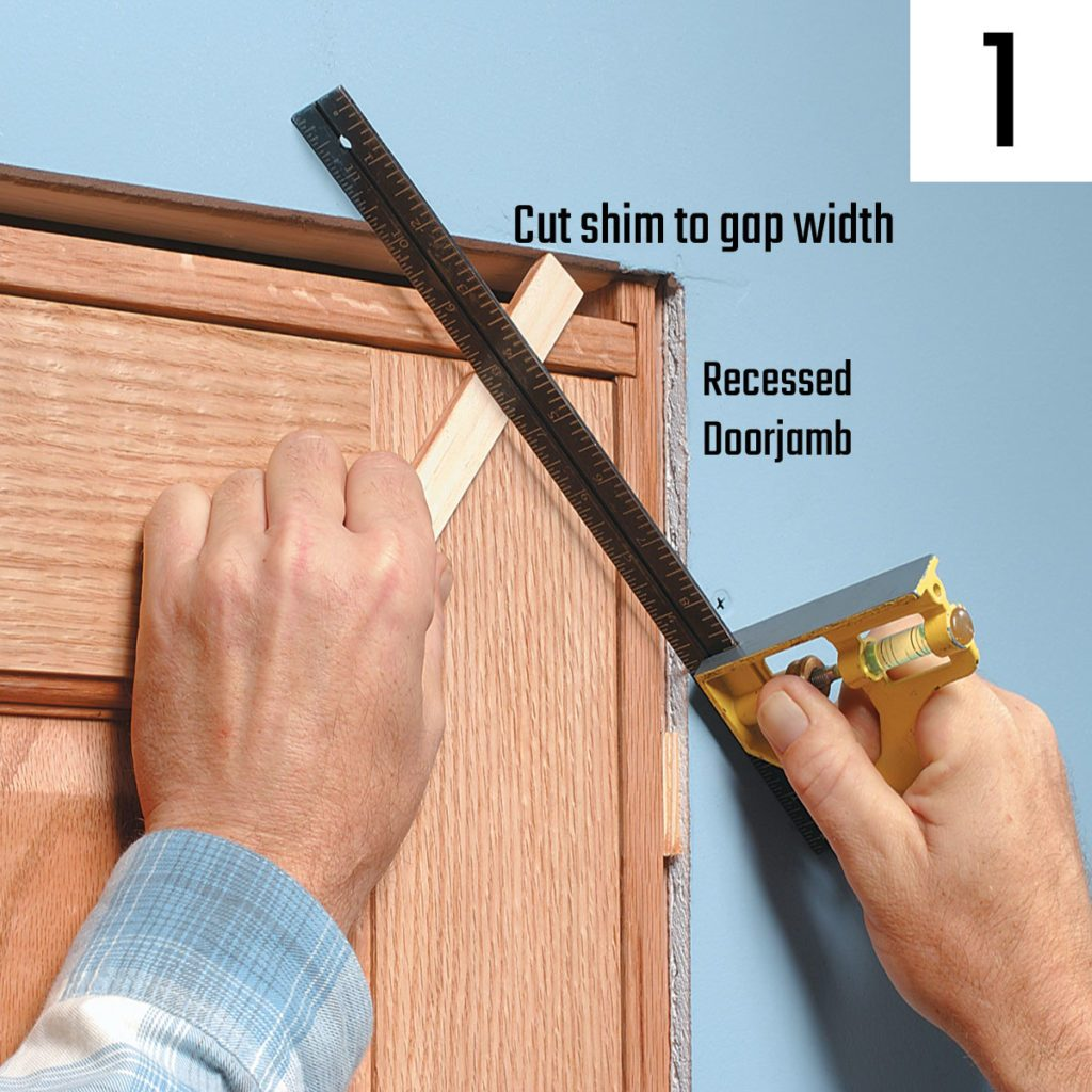 Using a square to cut shim to gap width | Construction Pro Tips