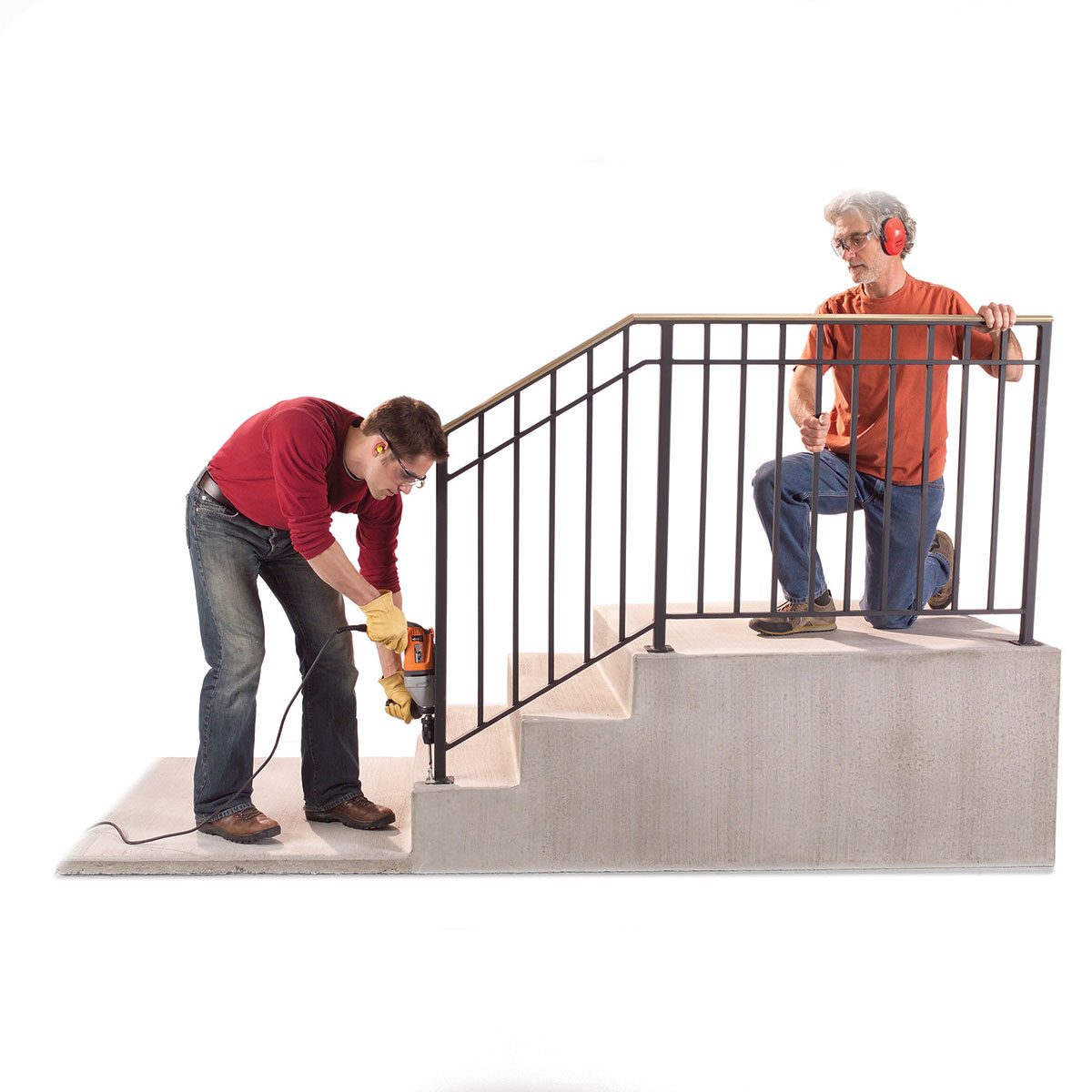 Two men installing a sturdy handrail | Construction Pro Tips